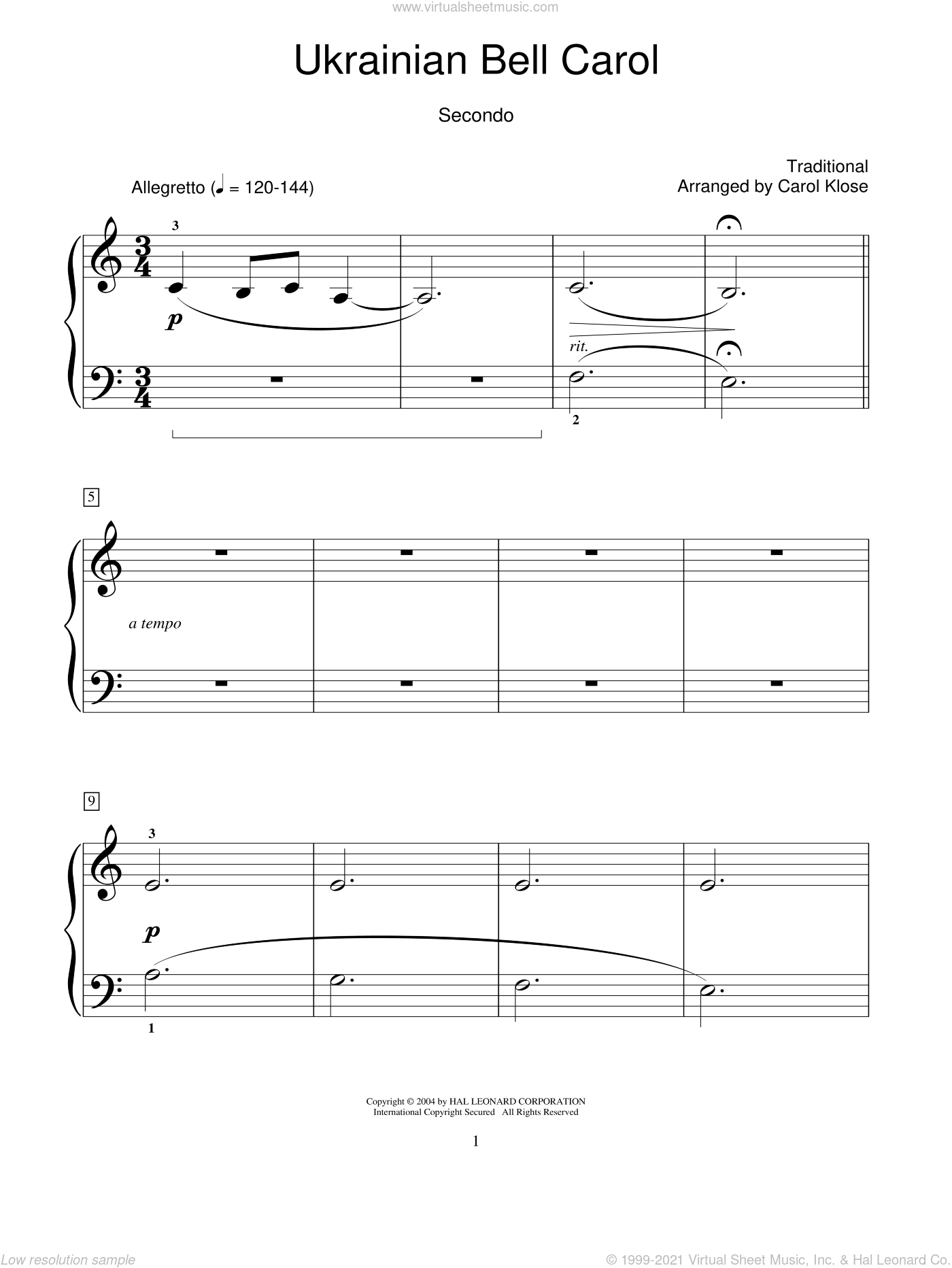 Ukrainian Bell Carol sheet music for piano four hands (duets) by Carol Klose. Score Image Preview.