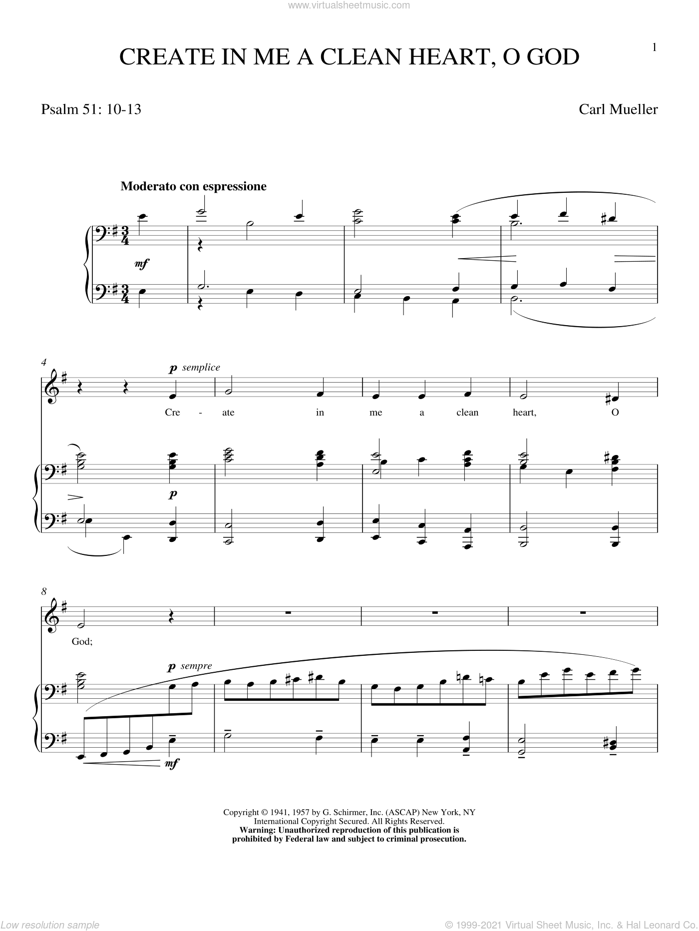 Create In Me A Clean Heart, O God sheet music for voice and piano (High ) by Carl Mueller and Keith Green. Score Image Preview.
