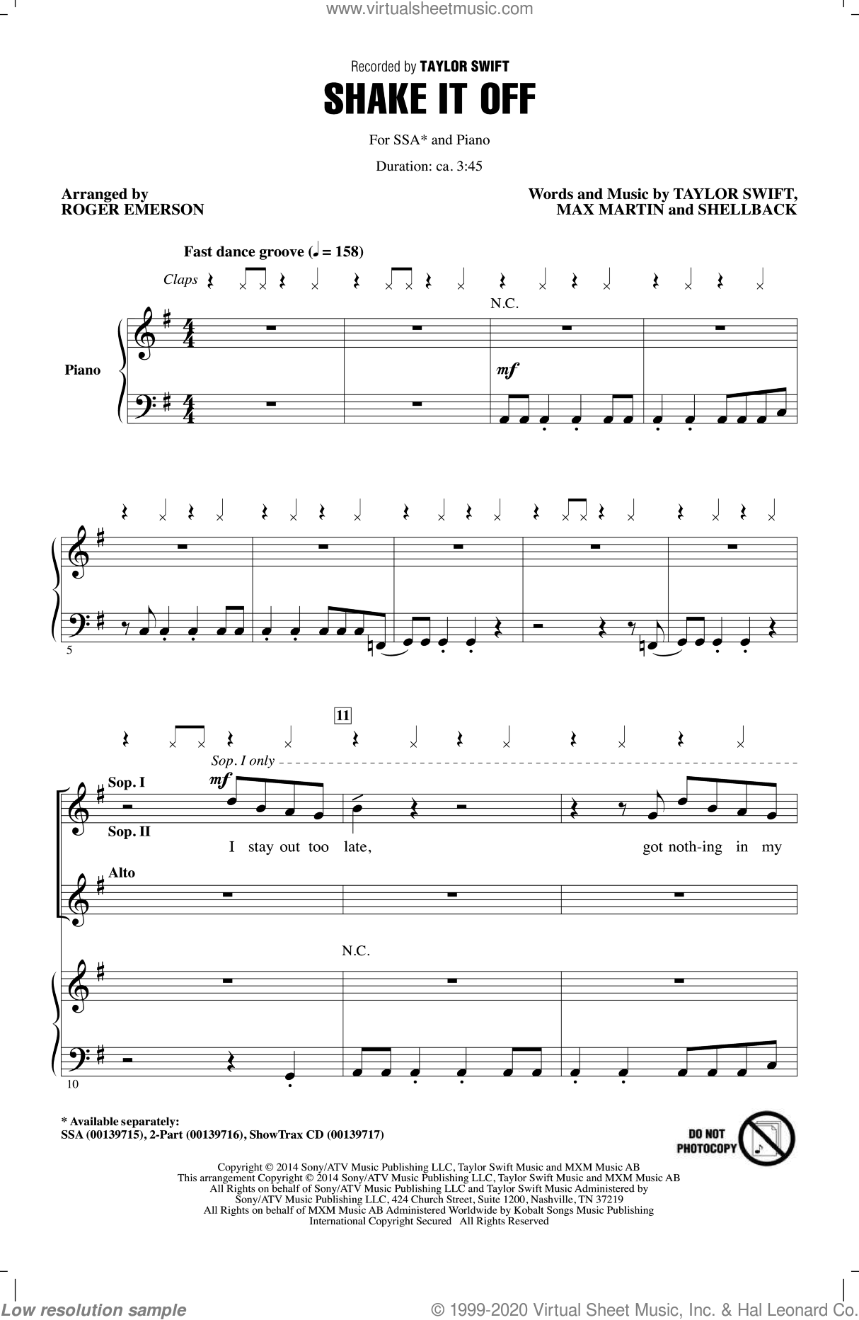 Shake It Off sheet music for choir (soprano voice, alto voice, choir) by Johan Schuster, Roger Emerson, Max Martin, Shellback and Taylor Swift. Score Image Preview.