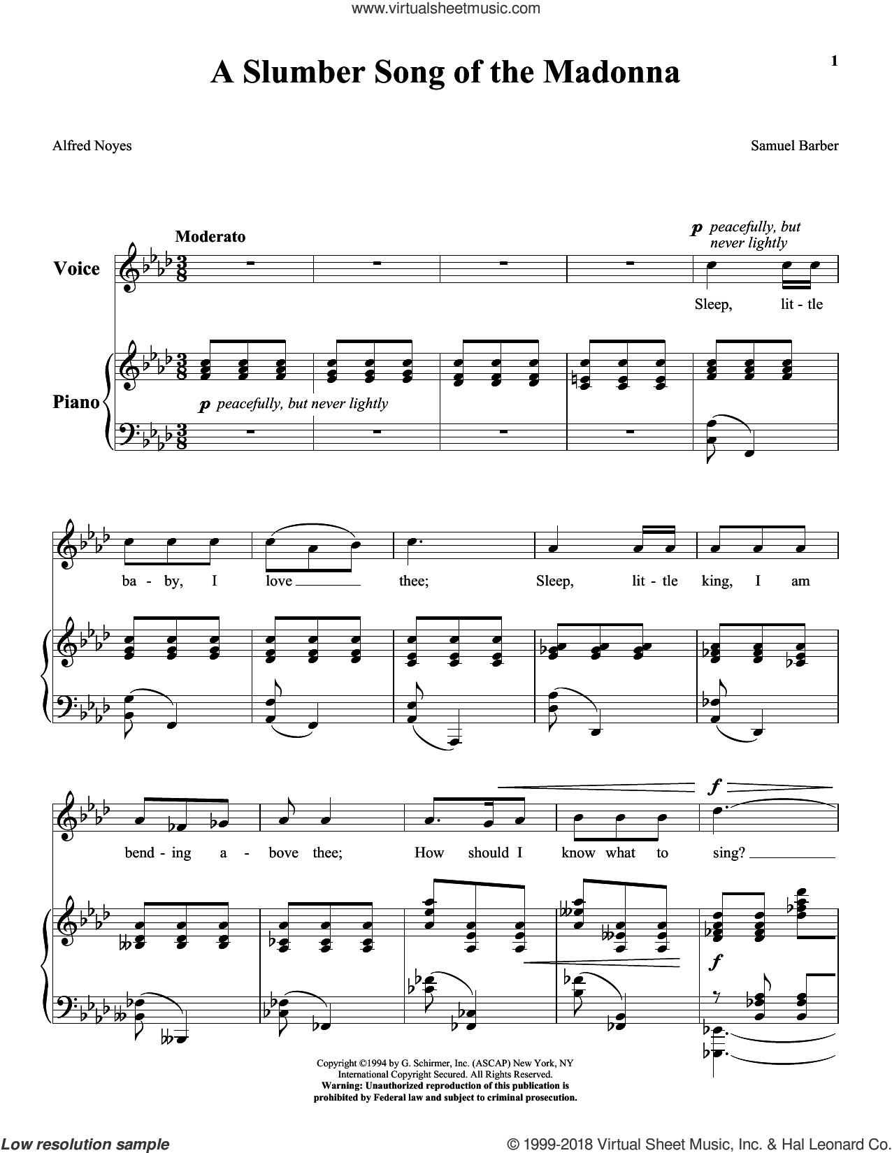 A Slumber Song Of The Madonna sheet music for voice and piano (High ) by Samuel Barber, classical score, intermediate voice. Score Image Preview.