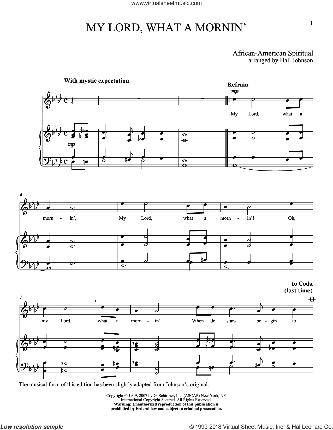 My Lord What A Mornin' sheet music for voice and piano (High Voice) by Hall Johnson, classical score, intermediate skill level