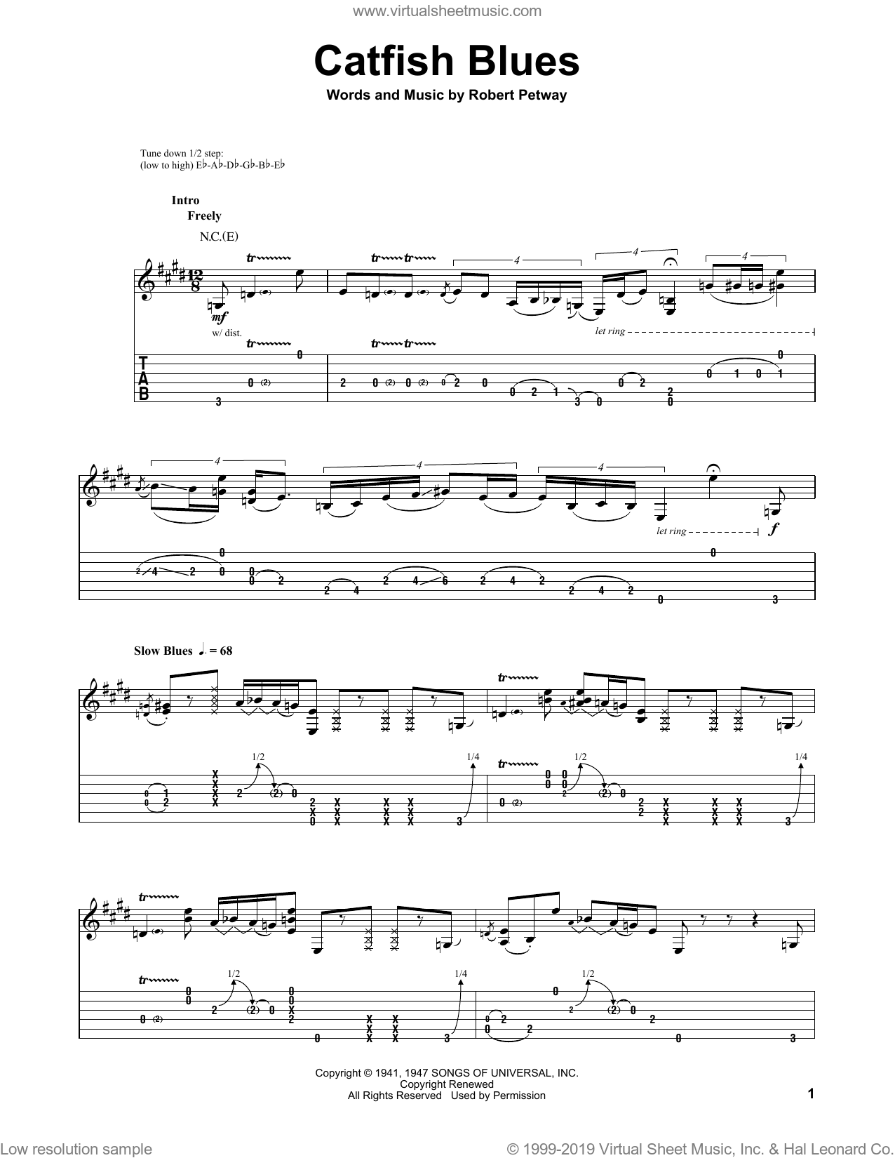 Catfish Blues sheet music for guitar (tablature, play-along) by Jimi Hendrix and Robert Petway, intermediate skill level