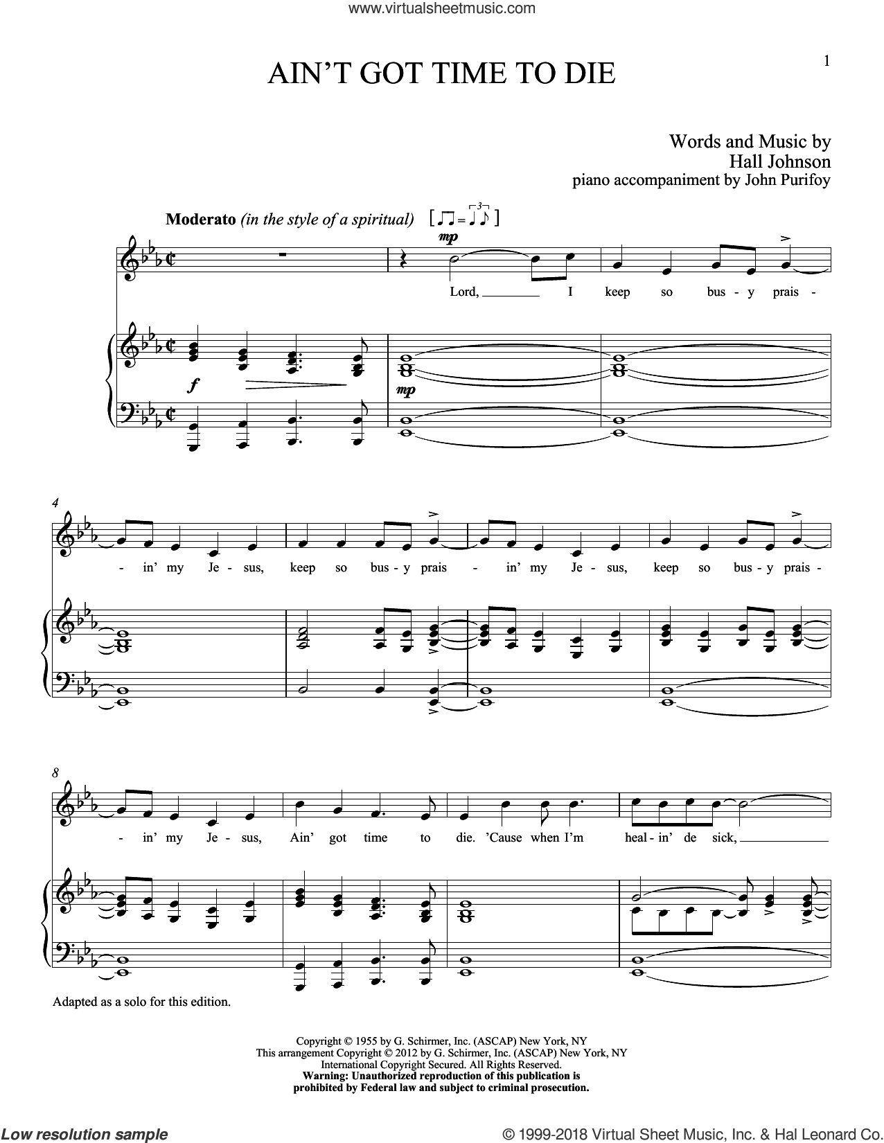 Ain't Got Time to Die sheet music for voice and piano (High ) by Hall Johnson. Score Image Preview.