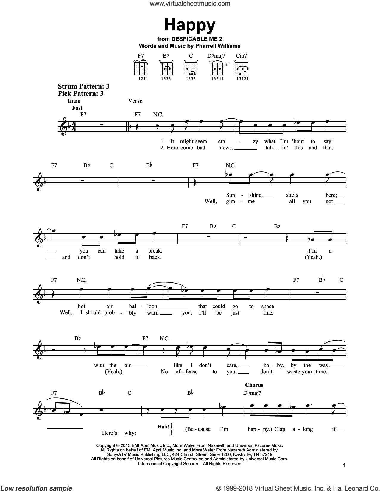 Happy sheet music for guitar solo (chords) by Pharrell Williams and Pharrell. Score Image Preview.