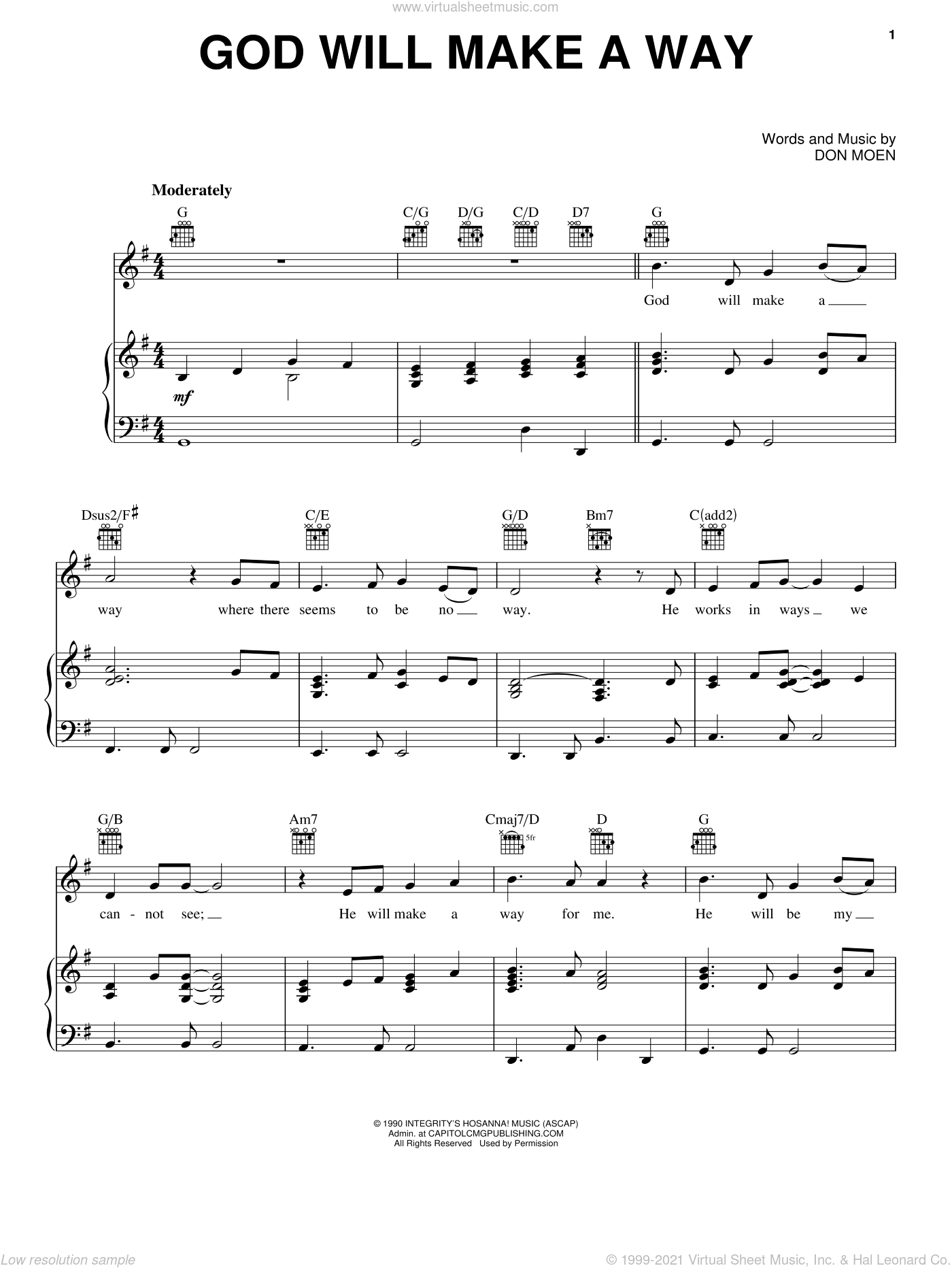 God Will Make A Way sheet music for voice, piano or guitar by Don Moen, intermediate skill level