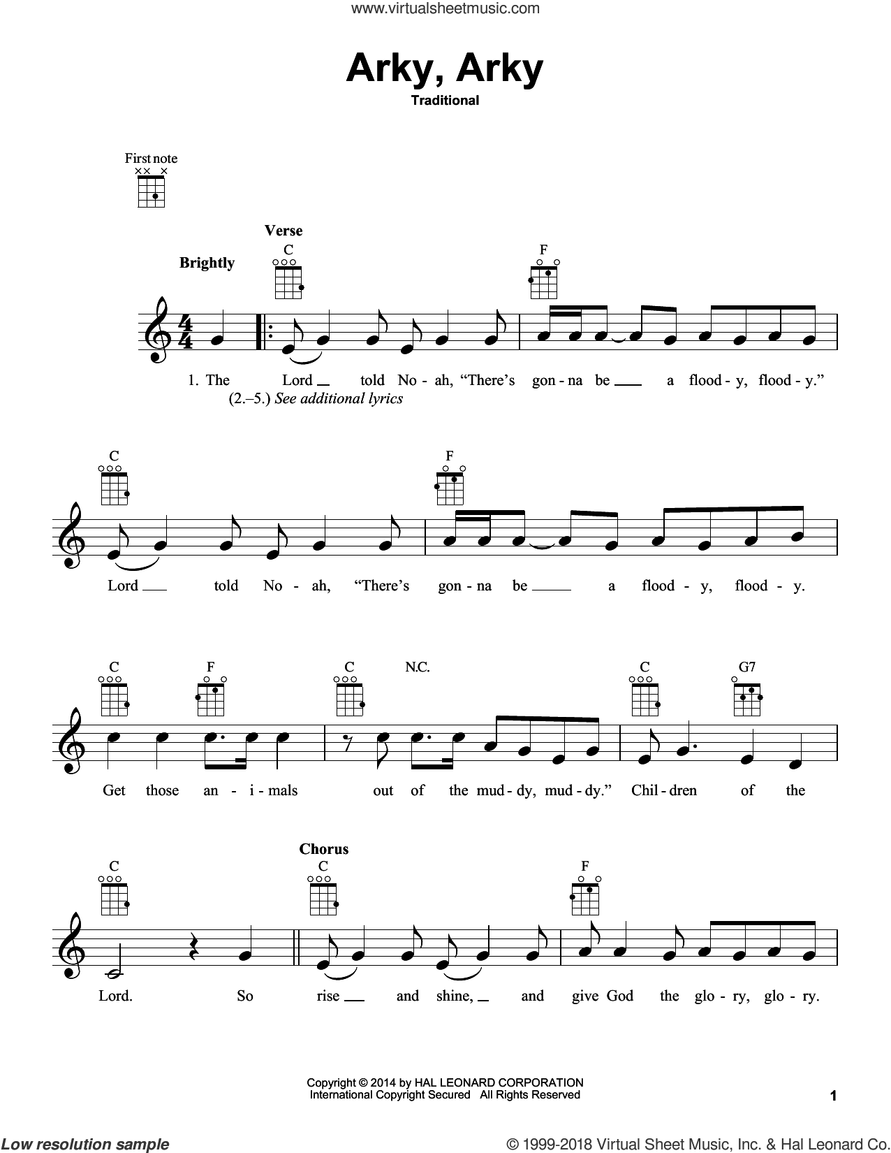 Arky, Arky sheet music for ukulele, intermediate skill level
