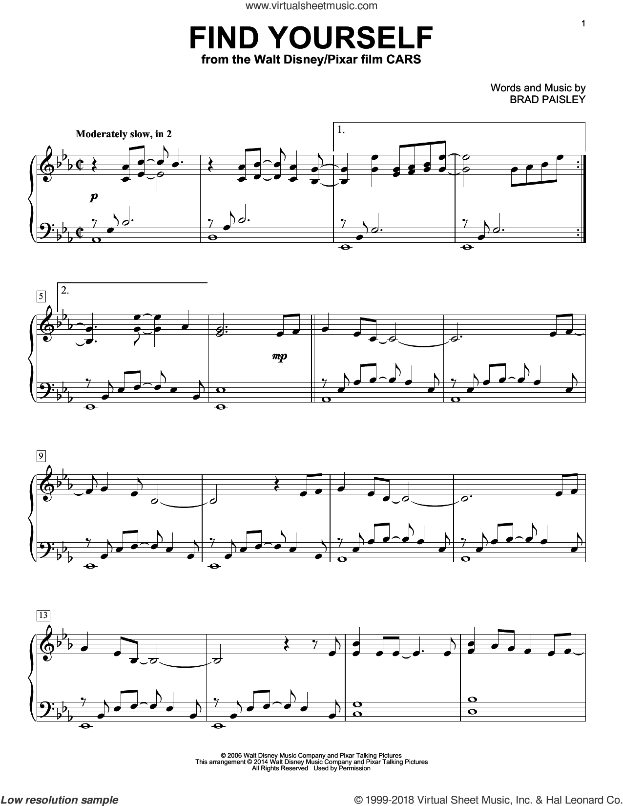 Find Yourself (from Cars) sheet music for piano solo by Brad Paisley, intermediate skill level