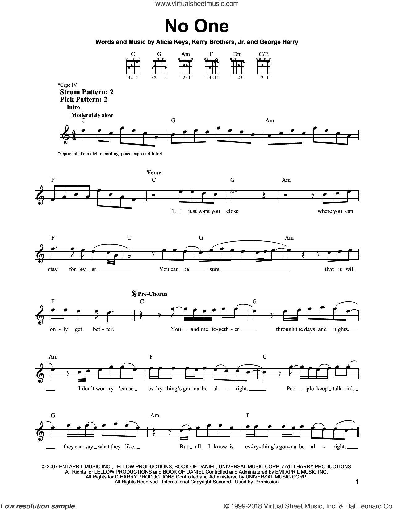 No One sheet music for guitar solo (chords) by Kerry Brothers and Alicia Keys. Score Image Preview.
