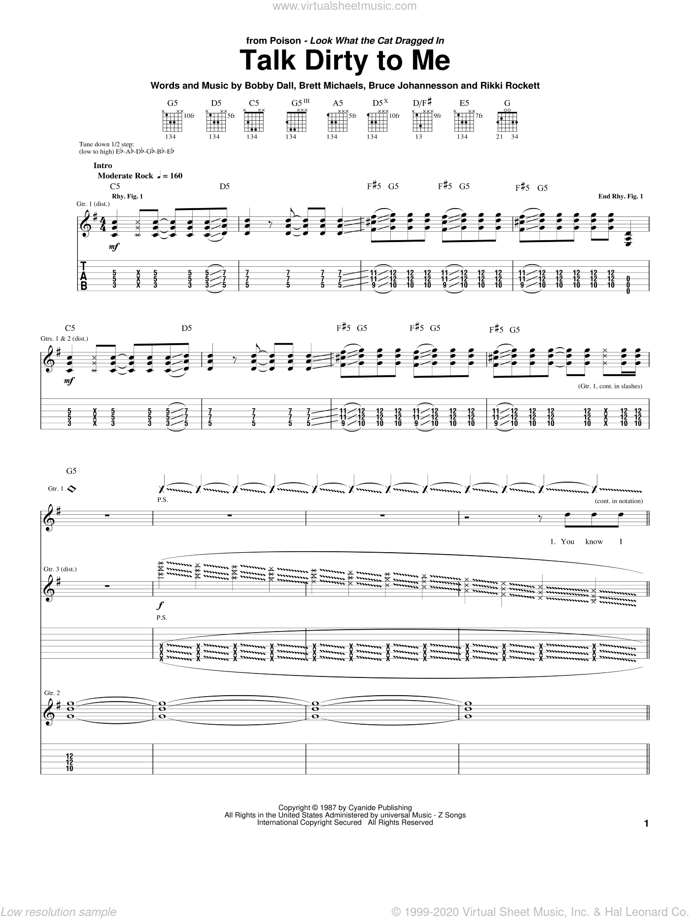 Talk Dirty To Me sheet music for guitar (tablature) by Rikki Rockett, Poison and Bobby Dall. Score Image Preview.