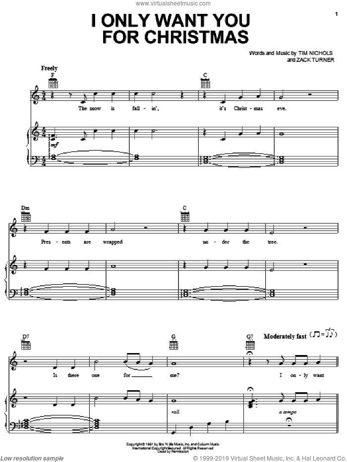 I Only Want You For Christmas sheet music for voice, piano or guitar by Alan Jackson, Tim Nichols and Zack Turner, intermediate skill level