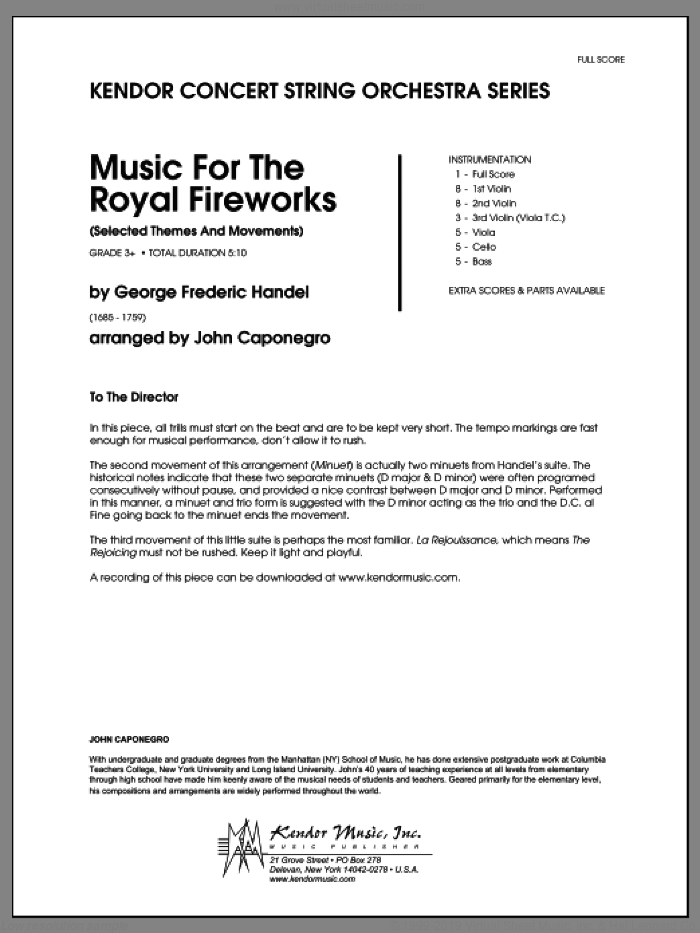 Music For The Royal Fireworks (Selected Themes And Movements) (COMPLETE) sheet music for orchestra by George Frideric Handel and John Caponegro, classical score, intermediate skill level
