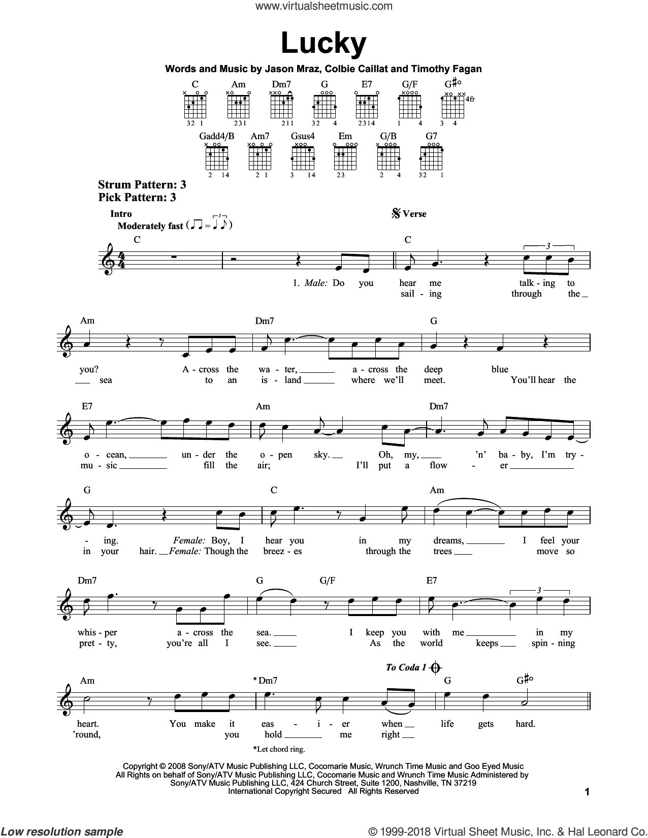 Lucky sheet music for guitar solo (chords) by Jason Mraz & Colbie Caillat, Glee Cast, Colbie Caillat, Jason Mraz and Timothy Fagan, easy guitar (chords)