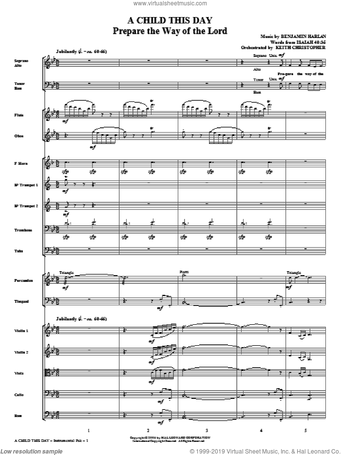 A Child This Day (complete set of parts) sheet music for orchestra/band (Orchestra) by Benjamin Harlan, Joseph S. Cook and Miscellaneous, intermediate skill level
