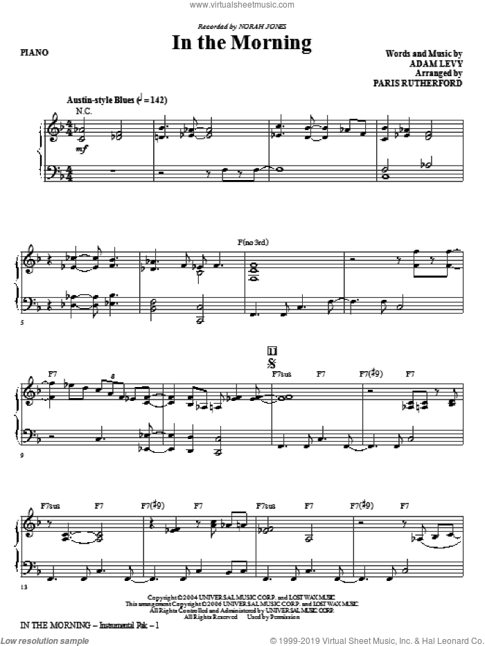 In The Morning (complete set of parts) sheet music for orchestra/band (Rhythm) by Paris Rutherford, Adam Levy and Norah Jones, intermediate skill level