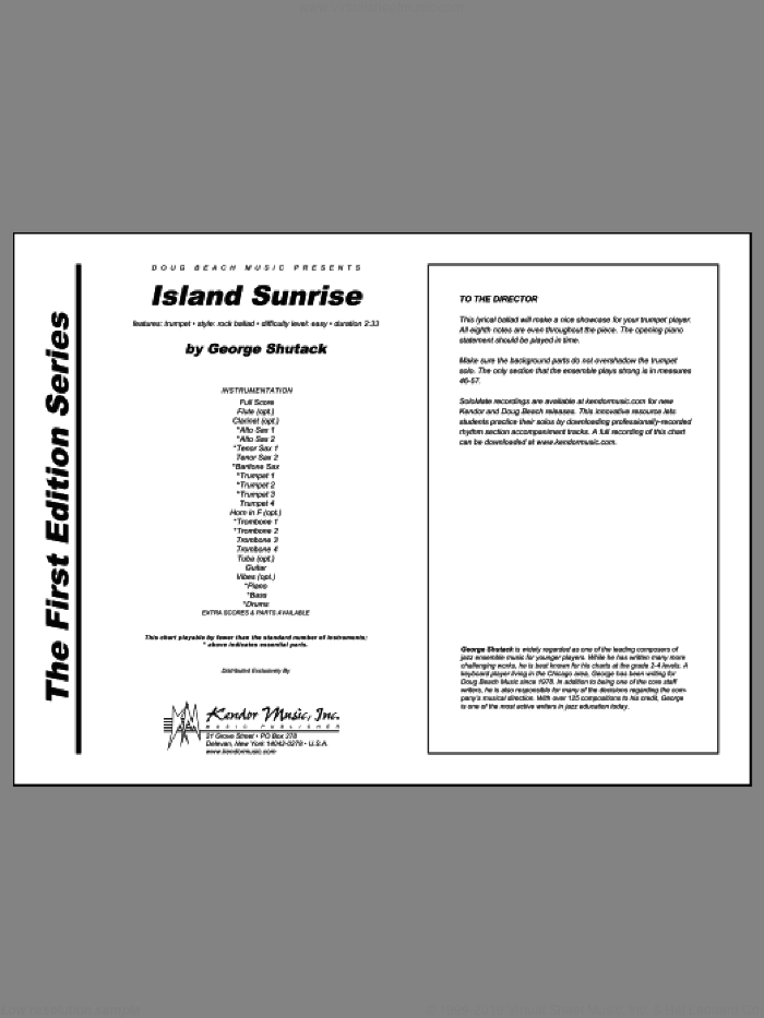 Island Sunrise (COMPLETE) sheet music for jazz band by George Shutack, intermediate