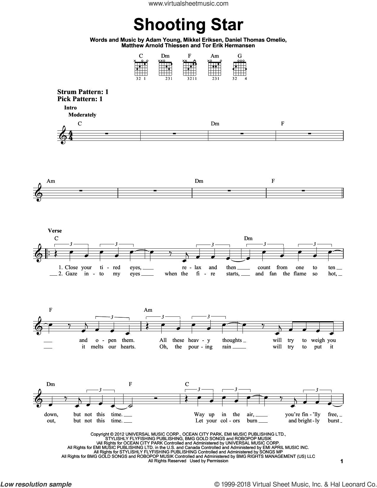 Shooting Star sheet music for guitar solo (chords) by Owl City, Adam Young, Daniel Thomas Omelio, Erik Hermansen, Matthew Arnold Thiessen and Mikkel Eriksen, easy guitar (chords)