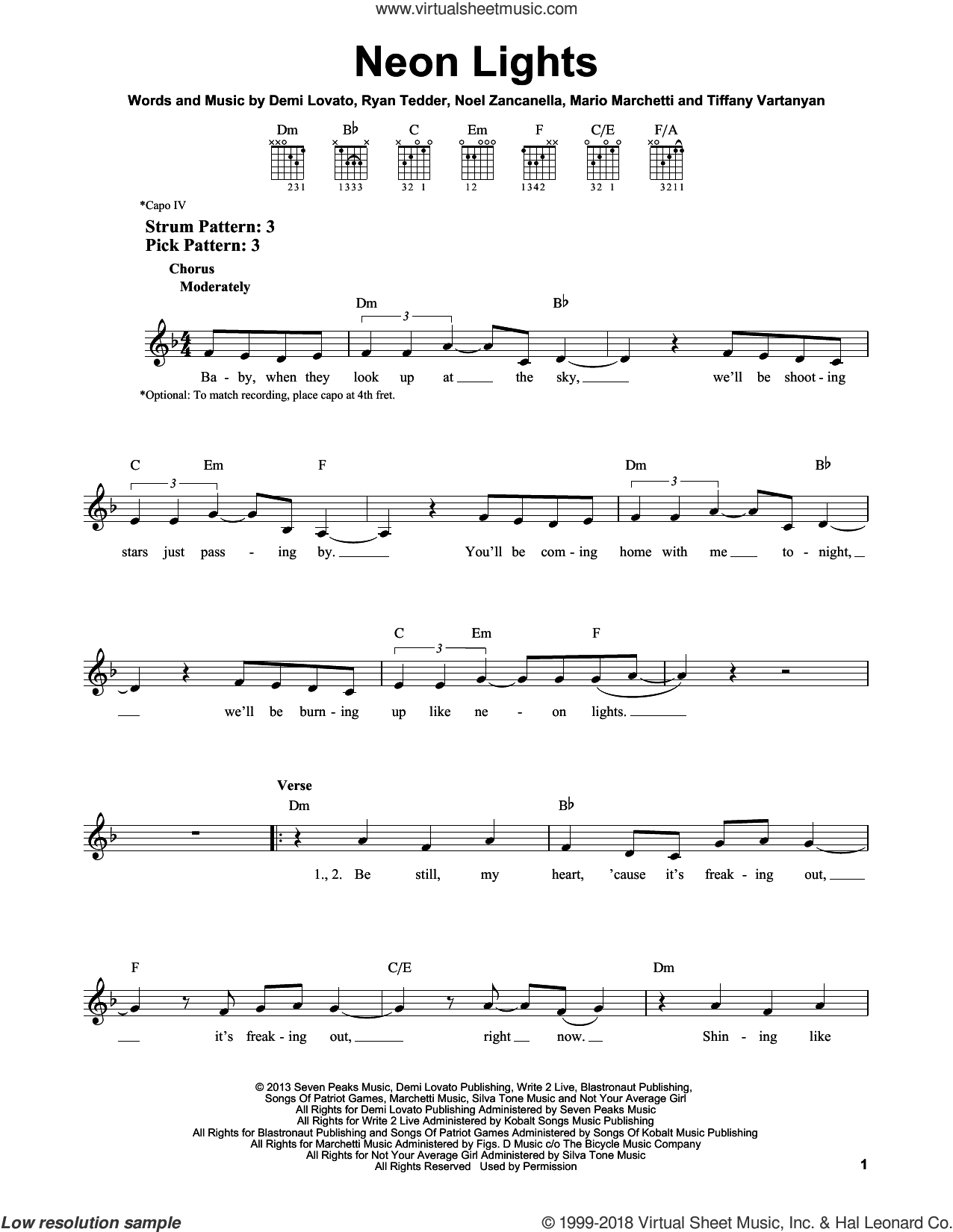 Neon Lights sheet music for guitar solo (chords) by Demi Lovato, Mario Marchetti, Noel Zancanella, Ryan Tedder and Tiffany Vartanyan, easy guitar (chords). Score Image Preview.