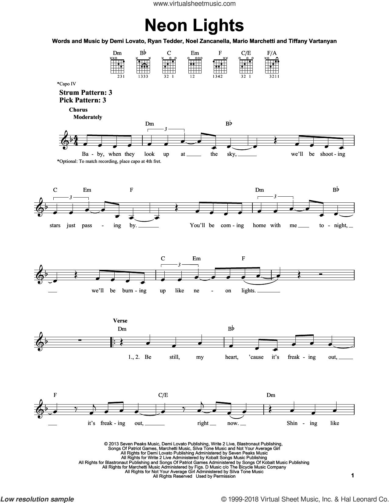 Neon Lights sheet music for guitar solo (chords) by Demi Lovato, Mario Marchetti, Noel Zancanella, Ryan Tedder and Tiffany Vartanyan, easy guitar (chords)