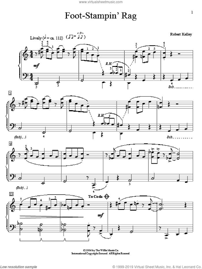Foot-Stampin' Rag sheet music for piano solo (elementary) by Robert Kelley. Score Image Preview.