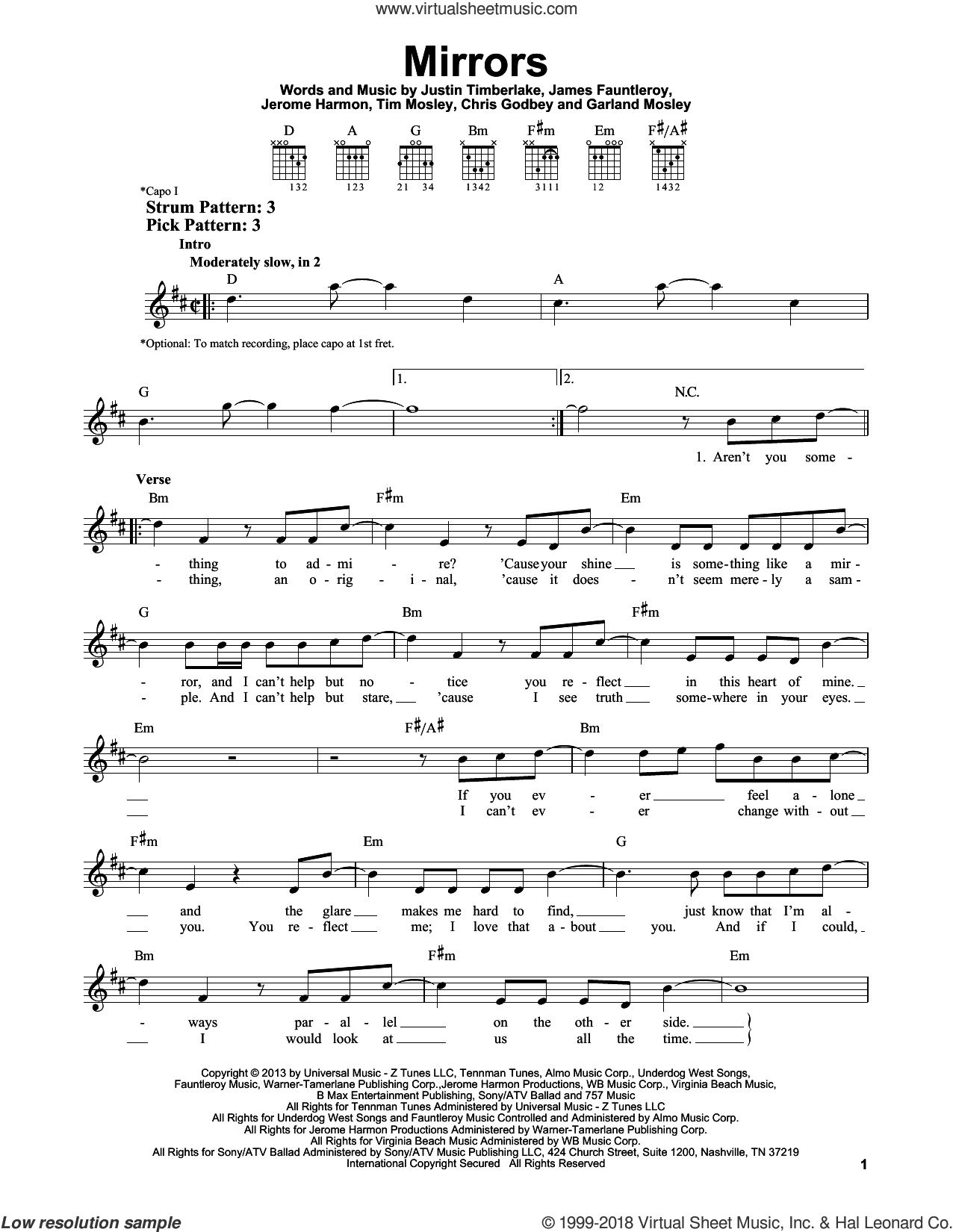 Mirrors sheet music for guitar solo (chords) by Tim Mosley, Chris Godbey, James Fauntleroy, Jerome Harmon and Justin Timberlake. Score Image Preview.