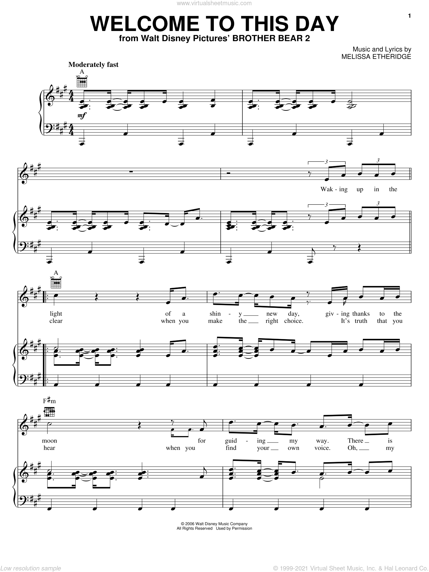 Welcome To This Day sheet music for voice, piano or guitar by Melissa Etheridge and Brother Bear 2 (Movie), intermediate skill level