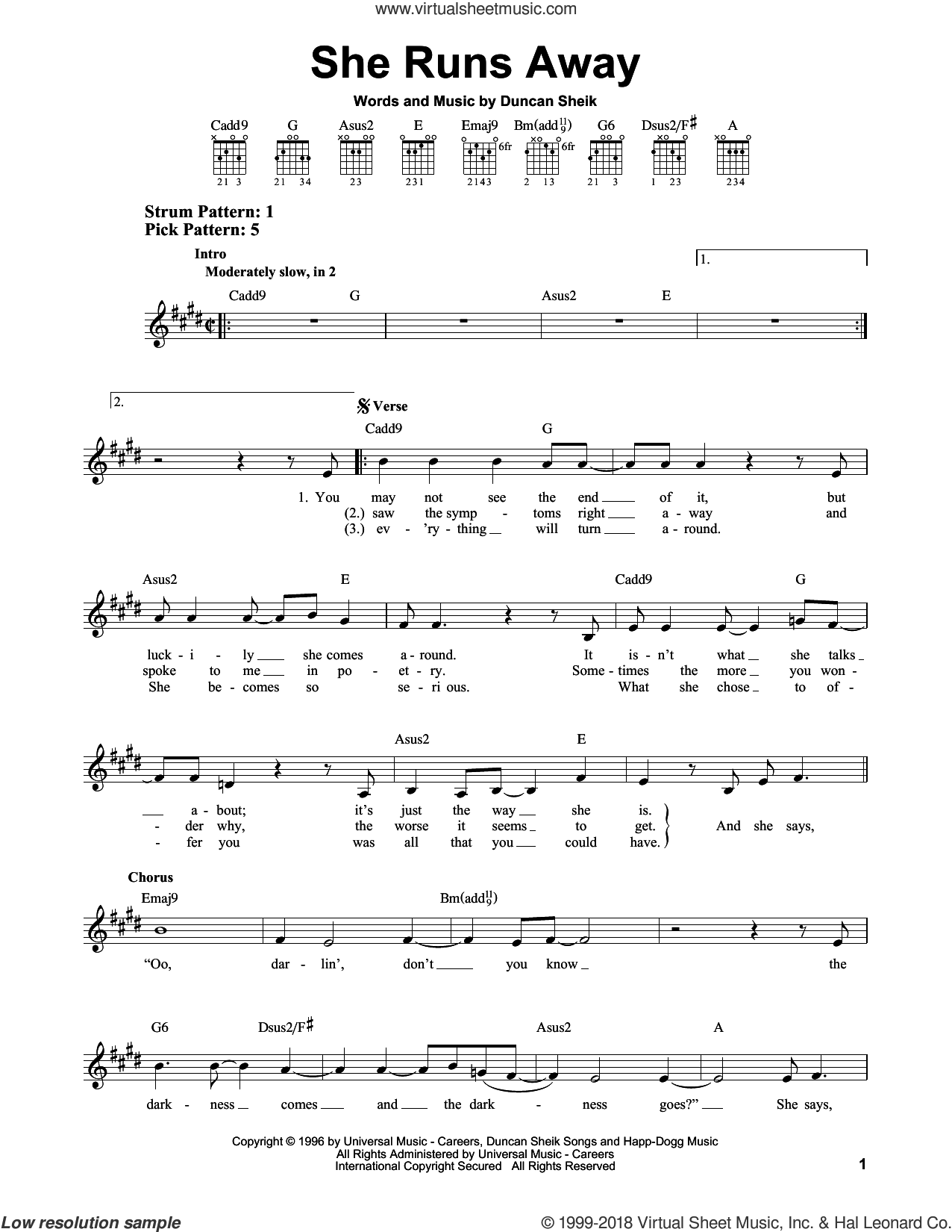 She Runs Away sheet music for guitar solo (chords) by Duncan Sheik. Score Image Preview.