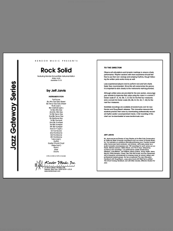 Rock Solid (COMPLETE) sheet music for jazz band by Jeff Jarvis, intermediate skill level