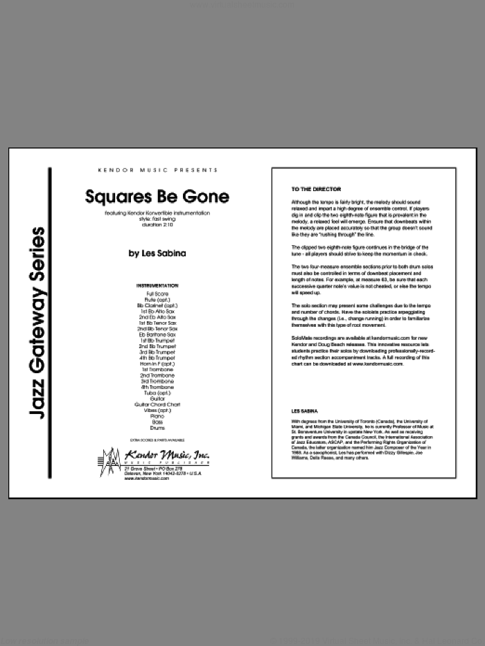 Squares Be Gone (COMPLETE) sheet music for jazz band by Les Sabina, intermediate skill level