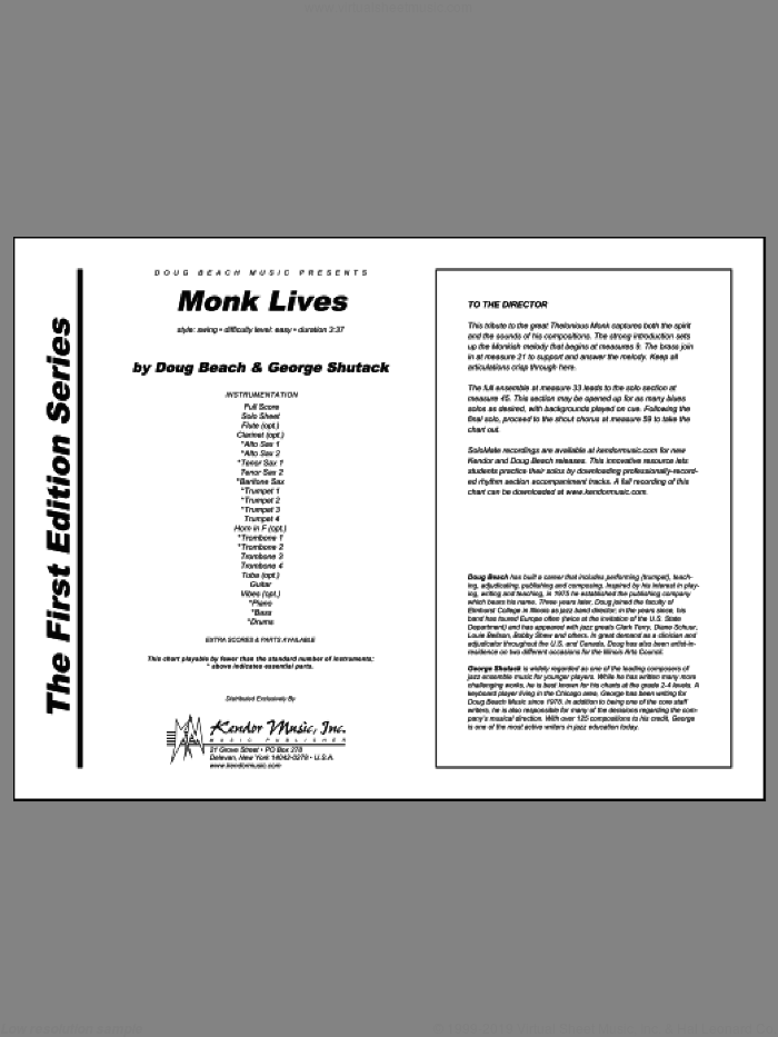 Monk Lives (COMPLETE) sheet music for jazz band by Doug Beach and George Shutack, intermediate skill level