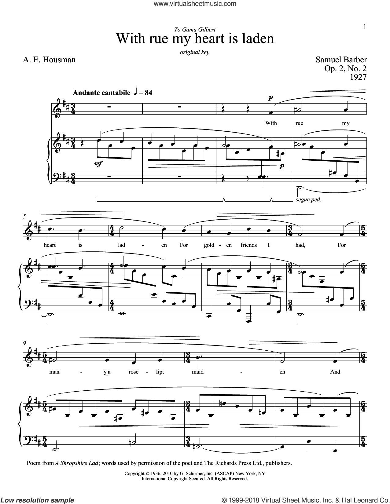 With Rue My Heart Is Laden sheet music for voice and piano (Low ) by A.E. Housman, Richard Walters and Samuel Barber. Score Image Preview.