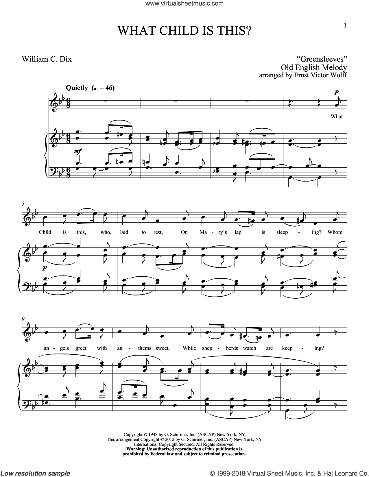 What Child Is This sheet music for voice and piano (High Voice) by Ernst Victor Wolff, classical score, intermediate skill level