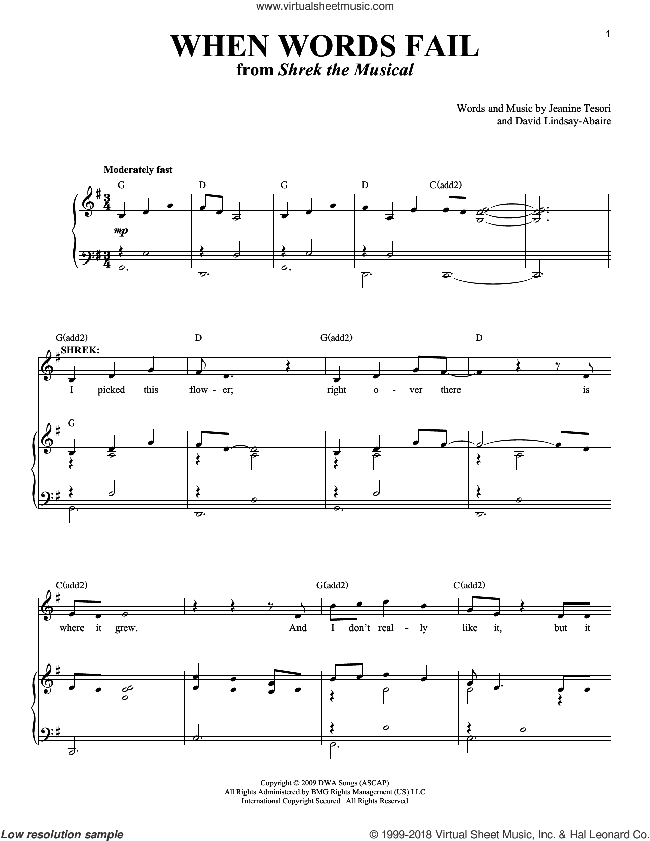 When Words Fail sheet music for voice and piano by David Lindsay-Abaire and Jeanine Tesori. Score Image Preview.