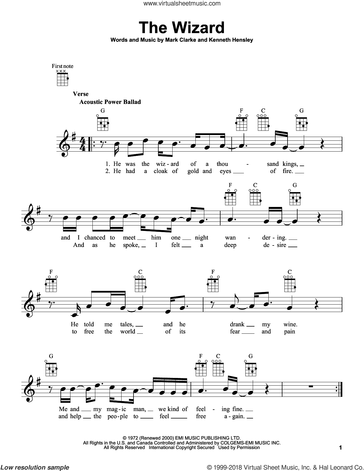 The Wizard sheet music for ukulele by Mark Clarke, intermediate. Score Image Preview.