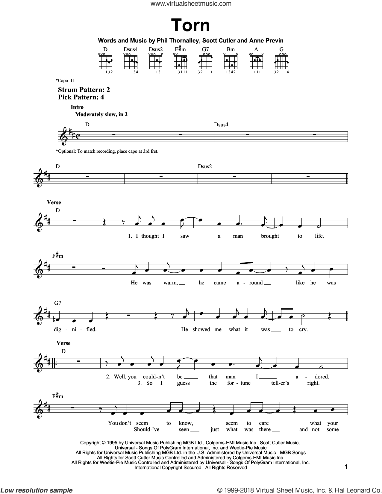 Torn sheet music for guitar solo (chords) by Scott Cutler