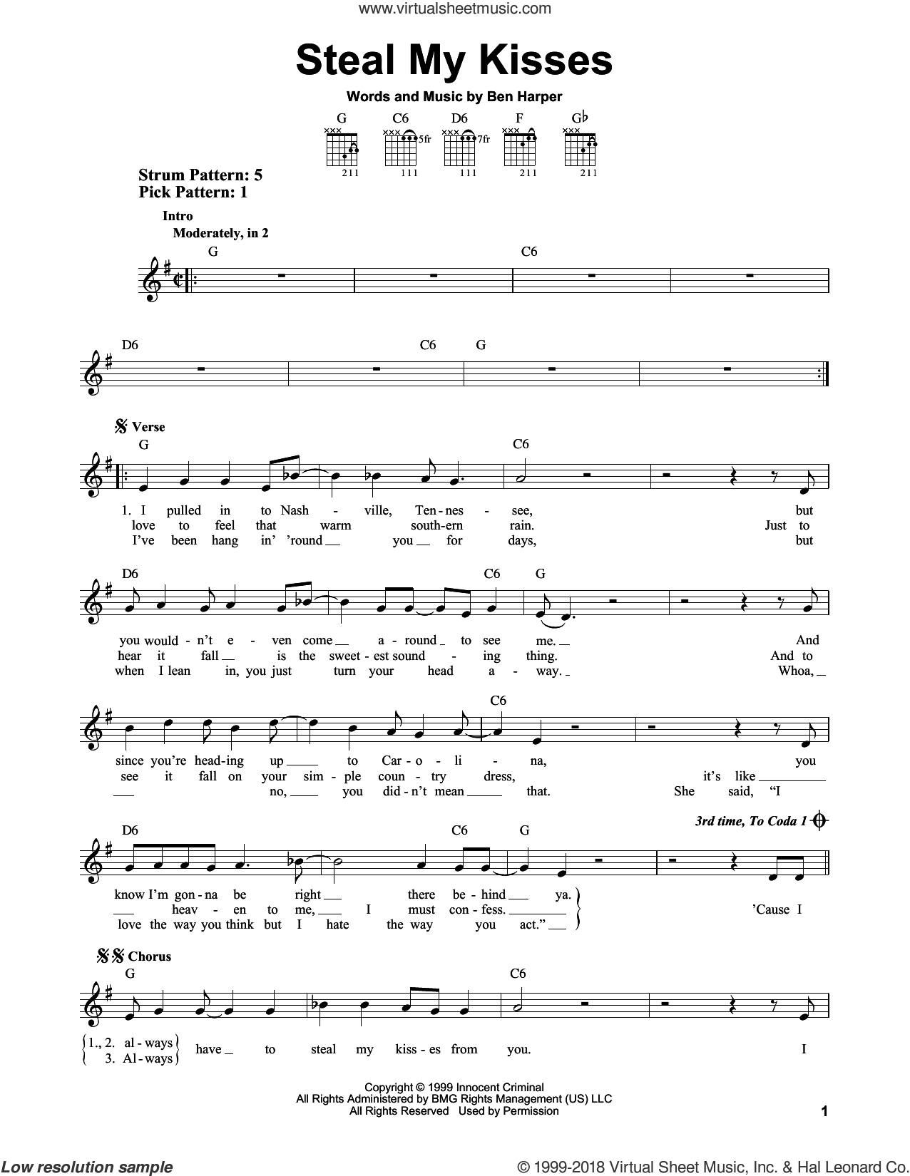 Steal My Kisses sheet music for guitar solo (chords) by Ben Harper And The Innocent Criminals and Ben Harper, easy guitar (chords)