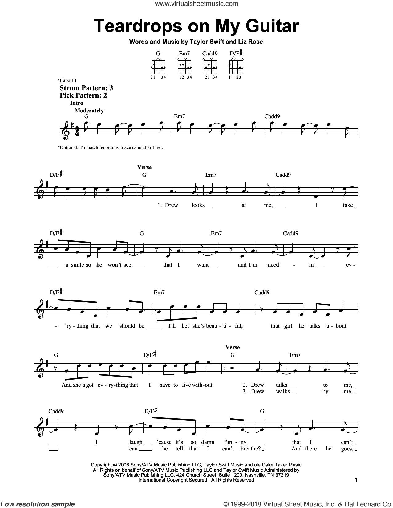 Teardrops On My Guitar sheet music for guitar solo (chords) by Taylor Swift and Liz Rose, easy guitar (chords)