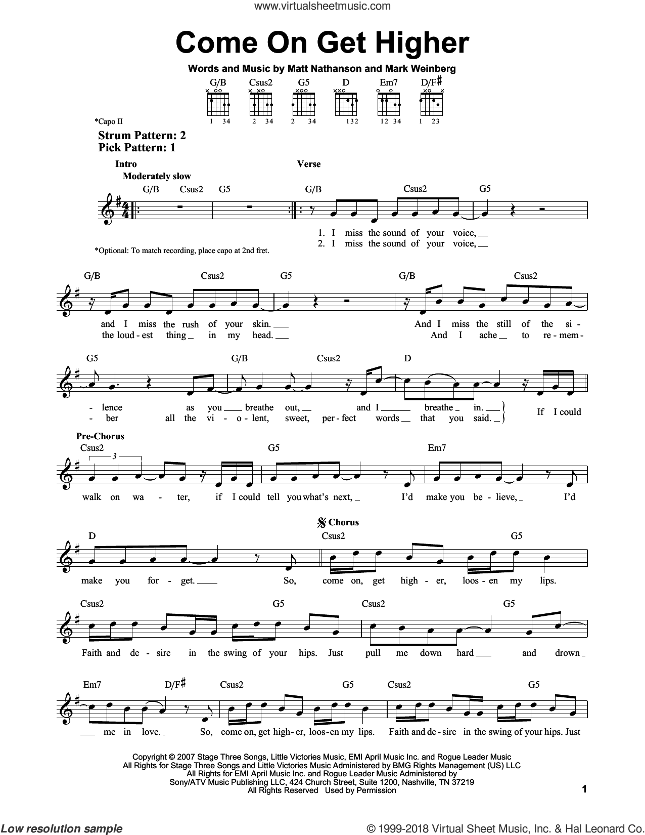 Come On Get Higher sheet music for guitar solo (chords) by Matt Nathanson and Mark Weinberg, easy guitar (chords)