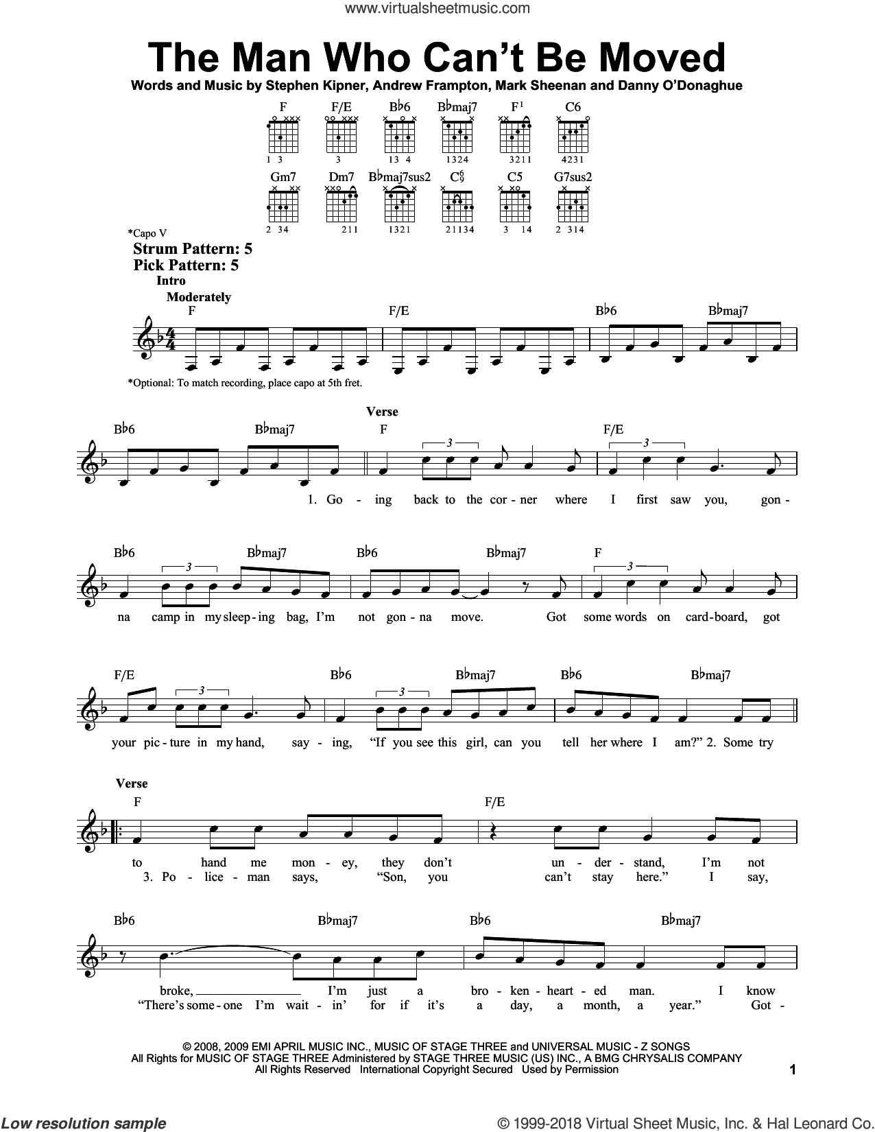 The Man Who Can't Be Moved sheet music for guitar solo (chords) by The Script, Xenia, Andrew Marcus Frampton, Mark Sheenan and Steve Kipner, easy guitar (chords)