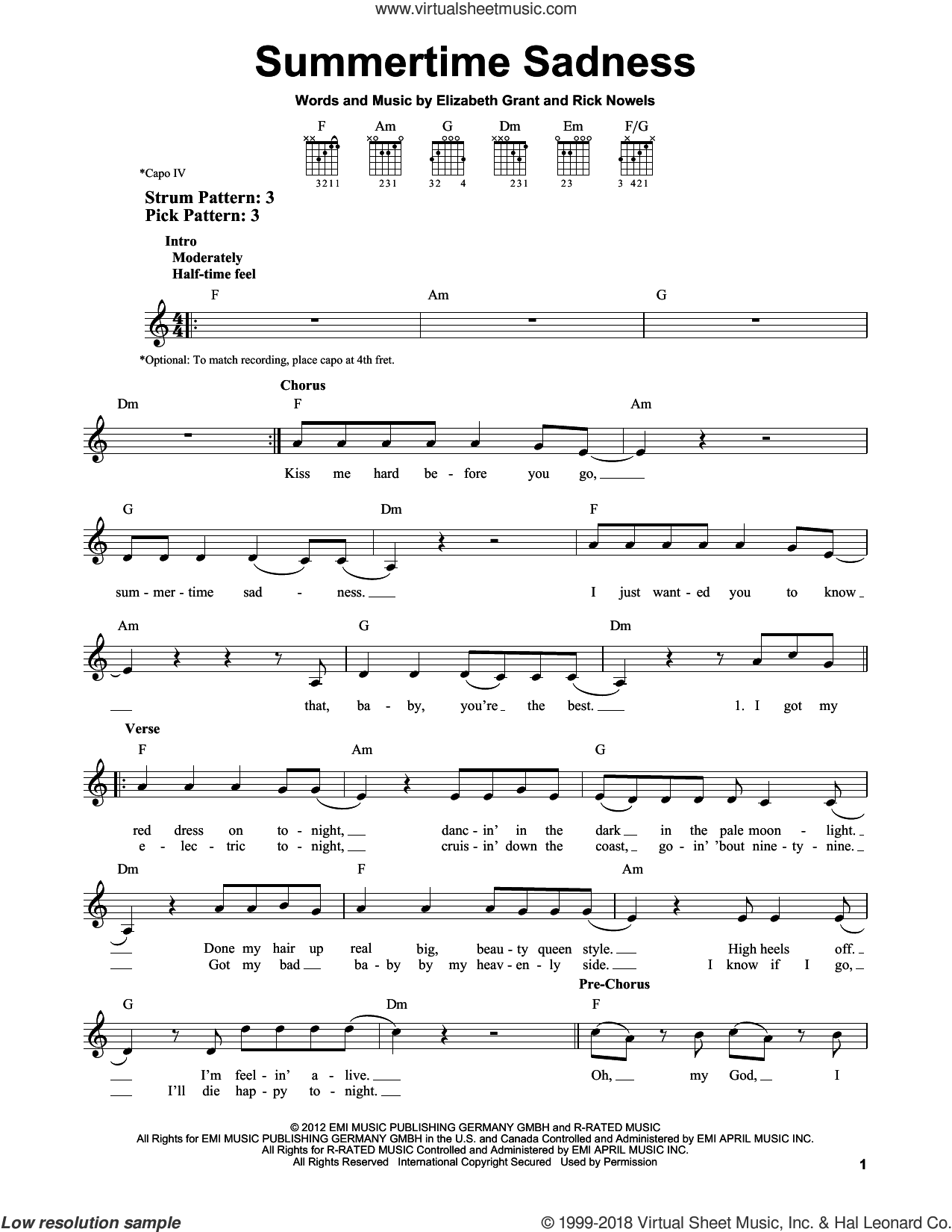 Summertime Sadness sheet music for guitar solo (chords) by Lana Del Ray and Rick Nowels. Score Image Preview.