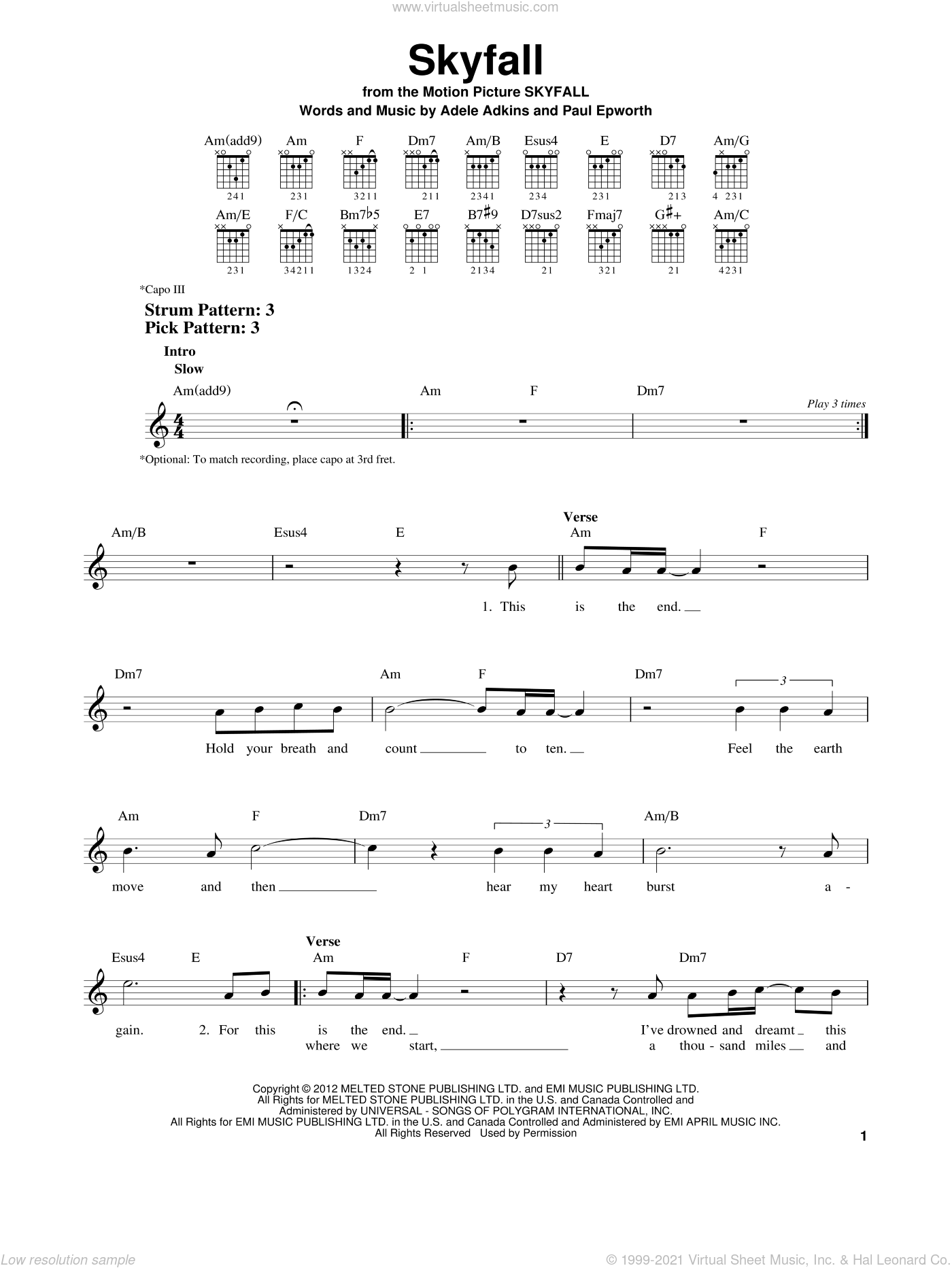 Skyfall sheet music for guitar solo (chords) by Adele, Adele Adkins and Paul Epworth, easy guitar (chords)