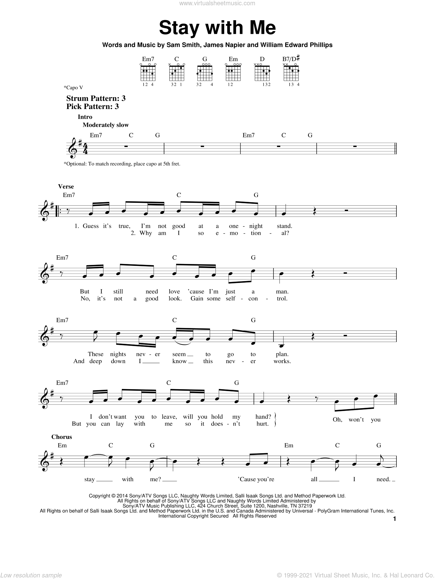 Stay With Me sheet music for guitar solo (chords) by William Edward Phillips, James Napier and Sam Smith. Score Image Preview.