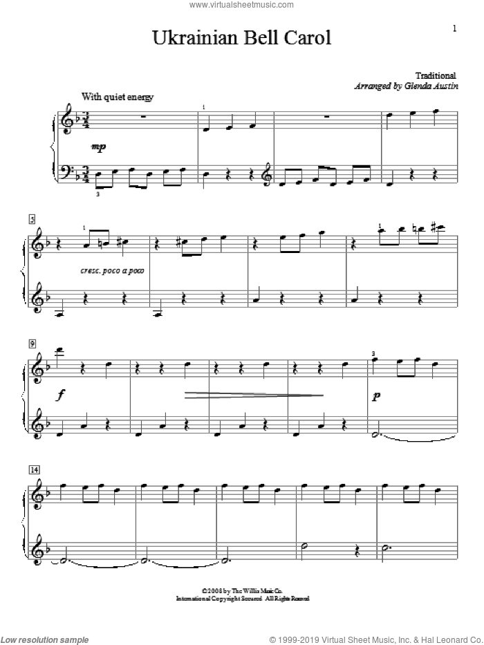 Ukrainian Bell Carol sheet music for piano solo (elementary) by Glenda Austin. Score Image Preview.
