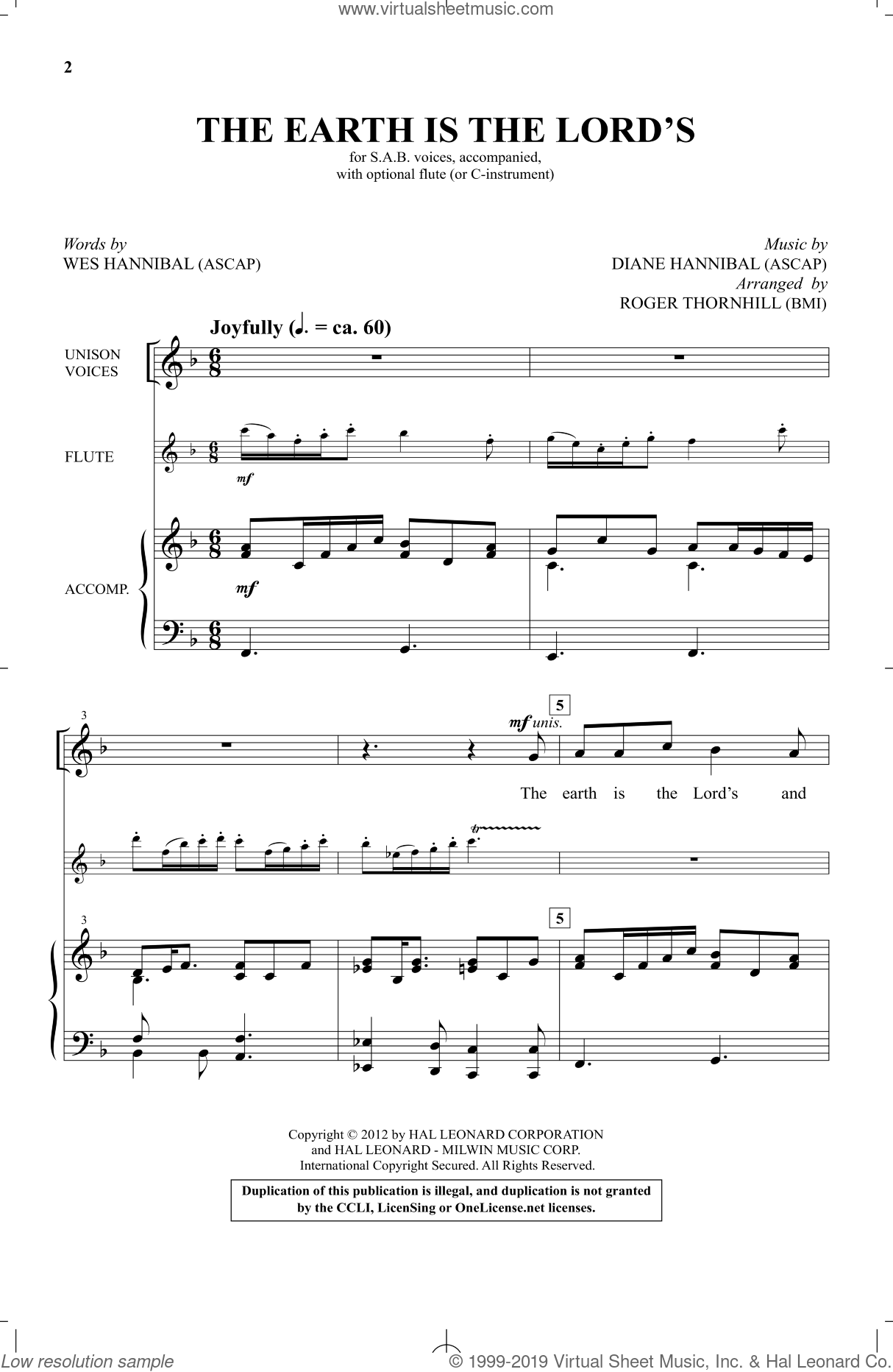 The Earth Is The Lord's sheet music for choir by Wes Hannibal, Roger Thornhill and Diane Hannibal. Score Image Preview.