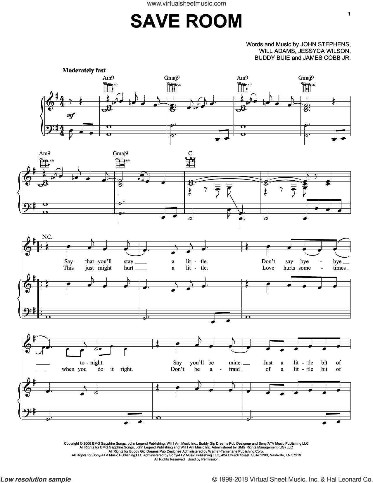 Save Room sheet music for voice, piano or guitar by Will Adams, John Legend and John Stephens. Score Image Preview.