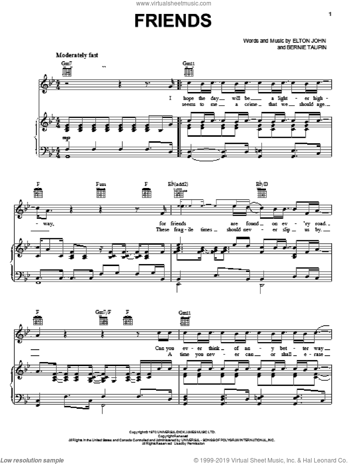 Friends sheet music for voice, piano or guitar by Elton John and Bernie Taupin, intermediate skill level