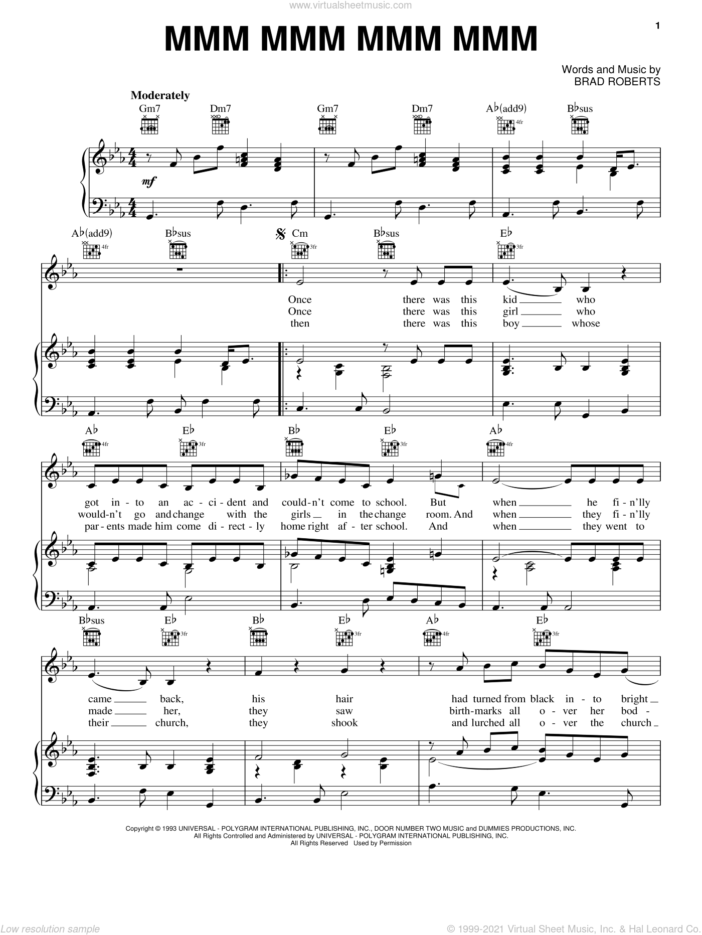 Mmm Mmm Mmm Mmm sheet music for voice, piano or guitar by Brad Roberts. Score Image Preview.