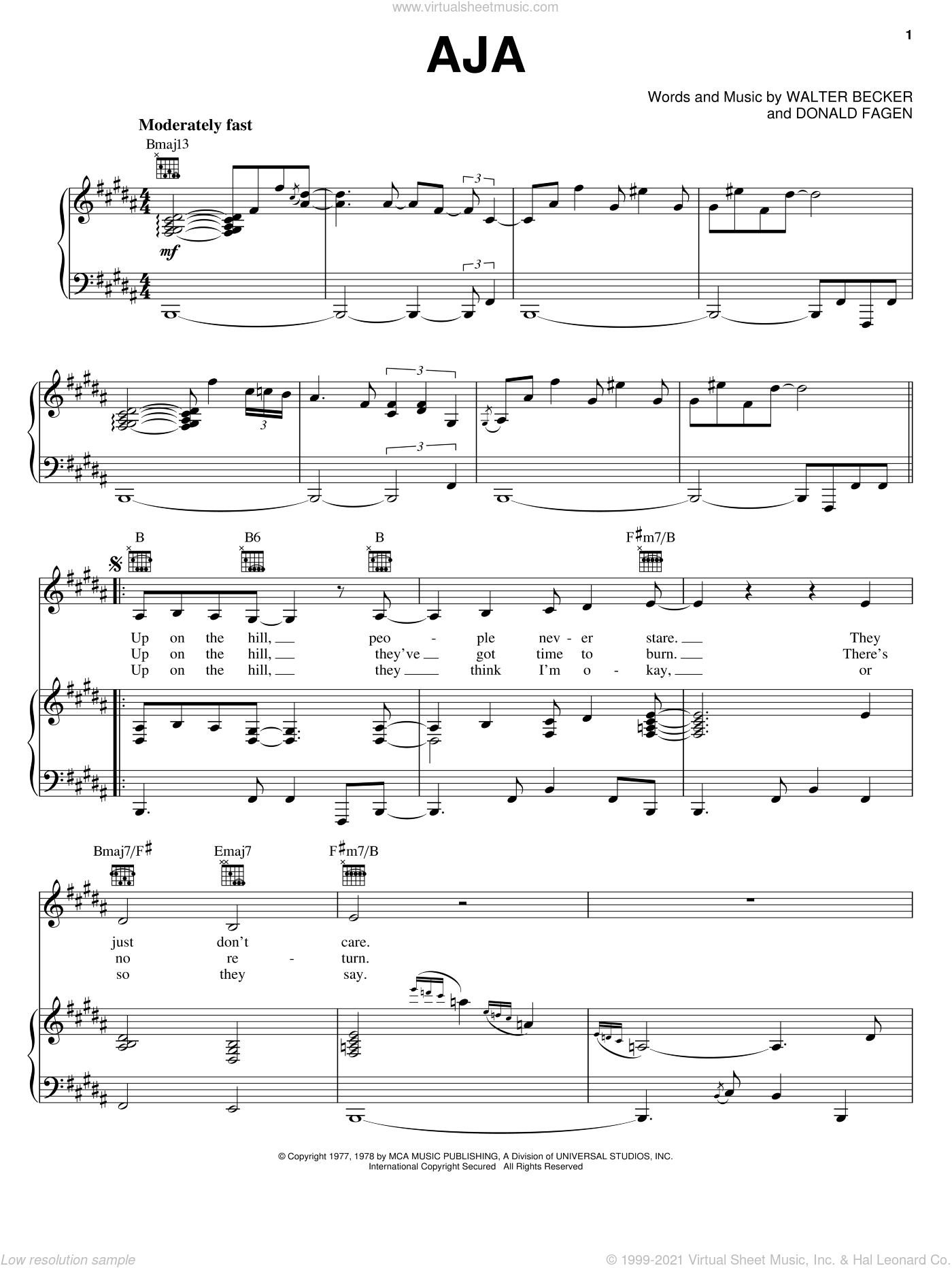 Aja sheet music for voice, piano or guitar by Steely Dan, Donald Fagen and Walter Becker, intermediate skill level