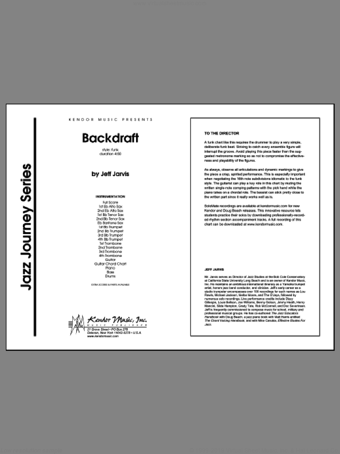 Backdraft (COMPLETE) sheet music for jazz band by Jeff Jarvis, intermediate skill level