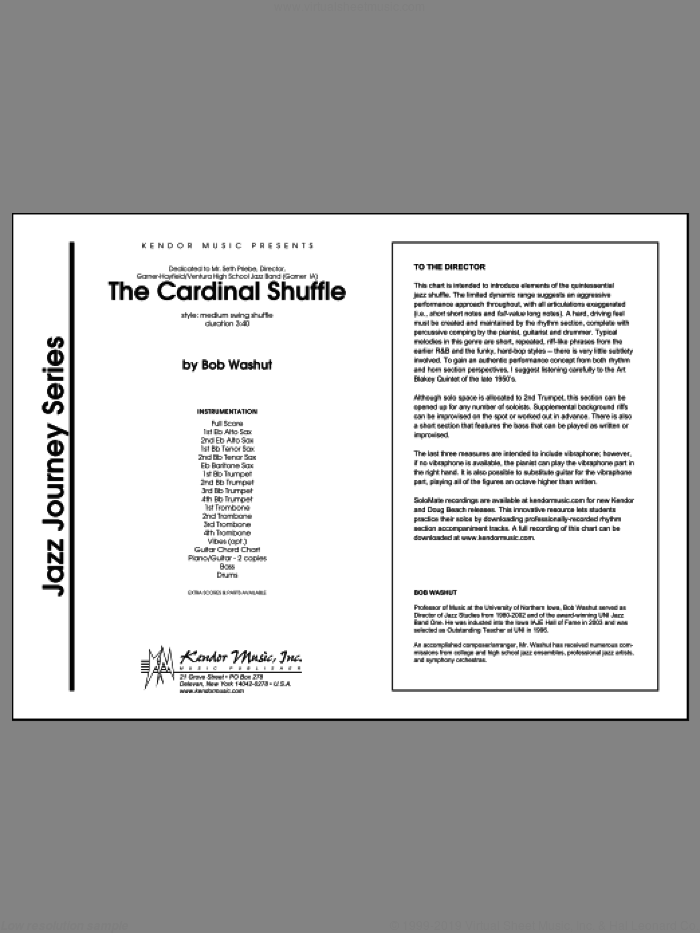 The Cardinal Shuffle (COMPLETE) sheet music for jazz band by Bob Washut, intermediate jazz band. Score Image Preview.