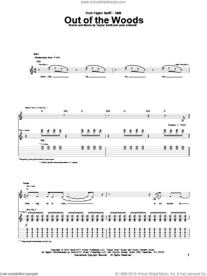 Out Of The Woods sheet music for guitar (tablature) by Taylor Swift and Jack Antonoff. Score Image Preview.